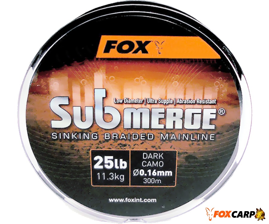 Fox Submerge Sinking Braided Mainline Dark Camo 300m 25lb/0.16mm
